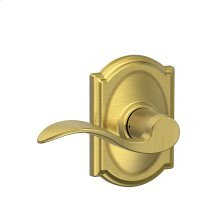 Accent Lever with Camelot trim Hall & Closet Lock - Satin Brass