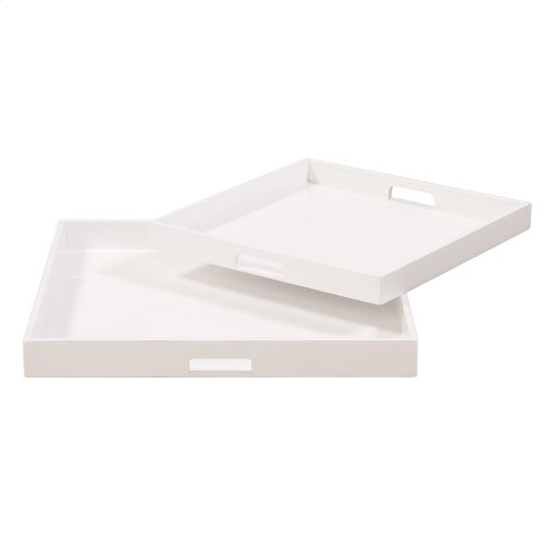 White Lacquer Square Wood Tray Set