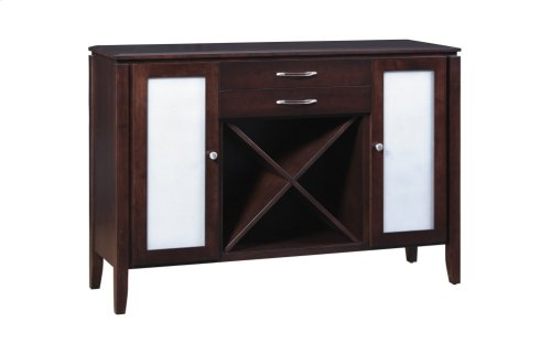 Sideboard W/2 Drawers, Wine Rack, Wood Sides & Frosted Glass