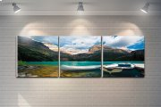 """3 Pieces Printed Art """"lake and Mountains"""" Composition Product Image"""