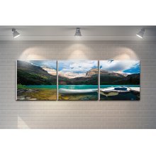 "3 Pieces Printed Art ""lake and Mountains"" Composition"