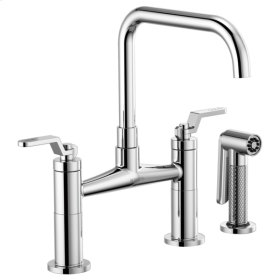 Bridge Faucet With Square Spout and Industrial Handle