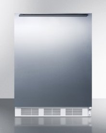 ADA Compliant Built-in Undercounter All-refrigerator for Residential Use, Auto Defrost With Stainless Steel Wrapped Door, Horizontal Handle, and White Cabinet