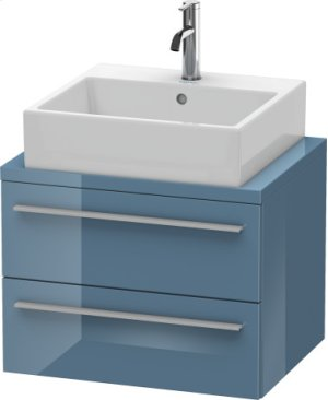 X-large Vanity Unit For Console Compact, Stone Blue High Gloss Lacquer