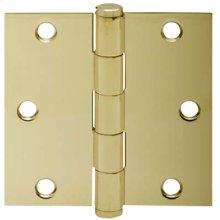 "Door Hardware  3.5"" Square Hinge - Bright Brass"