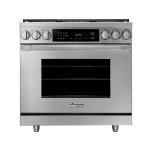 "Dacor36"" Dual Fuel Pro Range, Silver Stainless Steel, Liquid Propane/High Altitude"