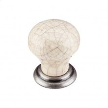 Ceramic Small Knob 1 1/8 Inch - Pewter Antique
