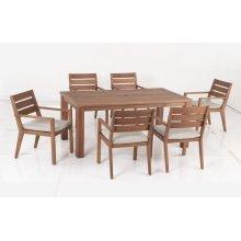 Benjamin Karri Gum FSC KD Dining Arm Chair w/ Sunbrella Cast Ash cushion