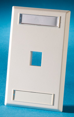 Single gang plastic faceplate, holds one Keystone jack or module, Electrical Ivory