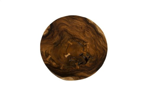 Chamcha Wood Freeform Coffee Table, Round, Thick Slab