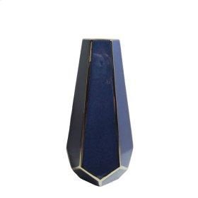 """Blue/gold Faceted Vase 11"""""""