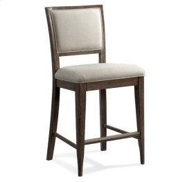 Joelle Upholstered Gathering Height Chair Carbon Gray finish