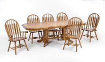 Classic Oak Chestnut Laminate Trestle Table Product Image