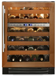 24 Inch Overlay Glass Door Dual Zone Wine Cabinet - Left Hinge Overlay Glass