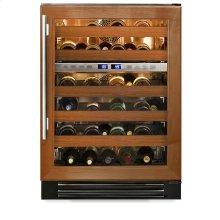 24 Inch Overlay Glass Door Dual Zone Wine Cabinet - Left Hinge Overlay Glass