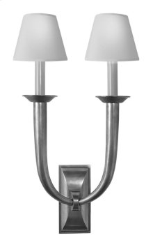 Visual Comfort S2021AN-NP Studio French Deco Horn 2 Light 12 inch Antique Nickel Decorative Wall Light in Natural Paper