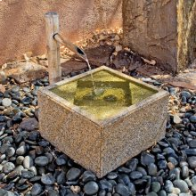Stone Tsukubai Basin Fountain + Install Acessories / Beige Granite