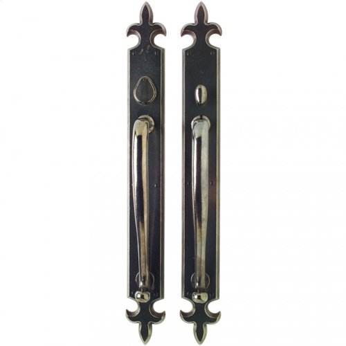 "Fleur de Lis Push/Pull Set - 3 1/4"" x 27"" White Bronze Dark"