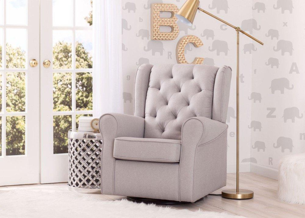 Emma Nursery Glider Swivel Rocker Chair   French Grey (1304)