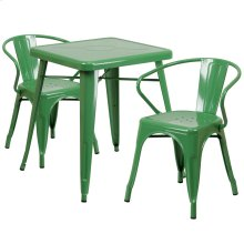 23.75'' Square Green Metal Indoor-Outdoor Table Set with 2 Arm Chairs