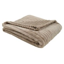 """THROW - 60"""" X 50"""" / BEIGE ULTRA SOFT RIBBED STYLE"""