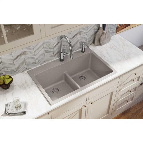 """Elkay Quartz Classic 33"""" x 22"""" x 10"""", Equal Double Bowl Drop-in Sink with Aqua Divide, Greige"""