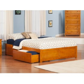 Concord Queen Flat Panel Foot Board with 2 Urban Bed Drawers Caramel Latte