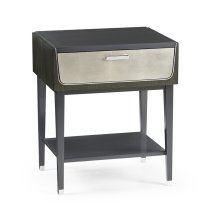 Gatsby Contemporary Dark Grey Walnut & Champagne Silver-leaf Bedside Table