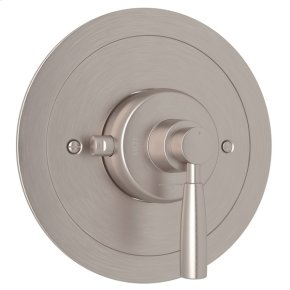 Satin Nickel Perrin & Rowe Holborn Thermostatic Trim Plate Without Volume Control with Holborn Metal Lever