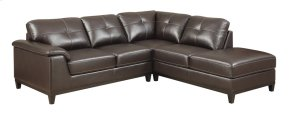 2pc Sectional W/5 Seats-rsf Chaise-lsf Love-walnut Brown Pu