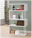 - Four tier bookcase finished in white - Clear tempered glass panels- Constructed with glass, MDF, and engineered veneer- Also available in black (#800340) Product Image