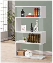 - Four tier bookcase finished in white - Clear tempered glass panels- Constructed with glass, MDF, and engineered veneer- Also available in black (#800340)