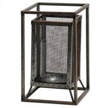 Caged Candle  6in W. X 10in Ht. Metal Candleholder with Glass Cylinder