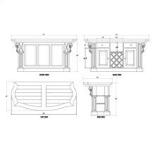 Charleston Kitchen Island w/ Corbels and Basket