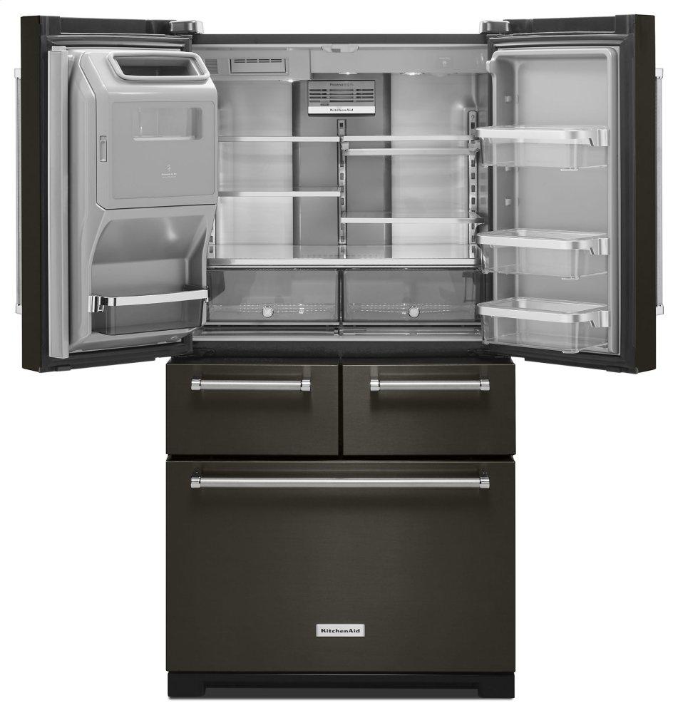 kitchenaid black stainless refrigerator build in kitchenaid 258 cu ft 36 krmf706ebskitchenaid
