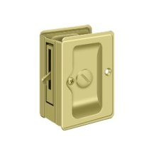 "HD Pocket Lock, Adjustable, 3 1/4""x 2 1/4"" Privacy - Polished Brass"