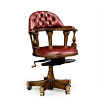 Captain's Style Walnut Office Chair, Upholstered in Red Leather