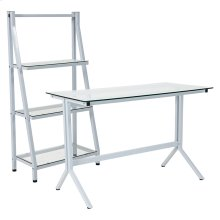 Winfield Collection Glass Computer Desk and Bookshelf with White Metal Frame