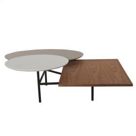Virga KD Coffee Table Black Base, White/Gray/Walnut