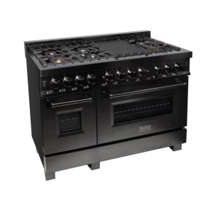 "Zline KitchenZLINE 48"" Black Stainless 6.0 cu.ft. 7 Gas Burner/Electric Oven Range (RAB-48)"