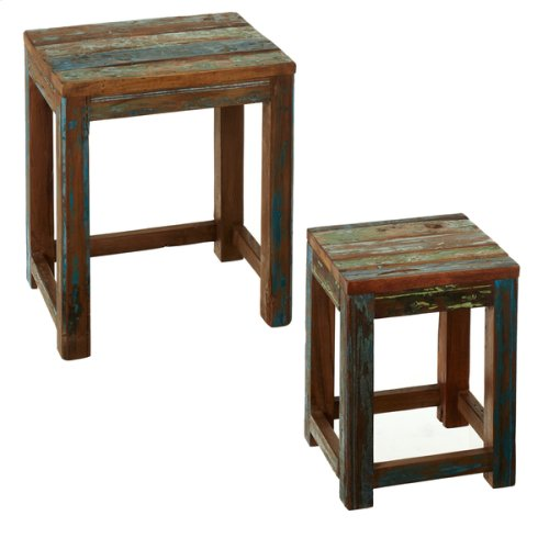 Reclaimed Wood with Distressing Nested Table (Each One Will Vary) (2 pc. set)