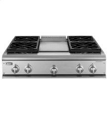 """GE Monogram® 36"""" Professional Gas Cooktop with 4 Burners and Griddle (Liquid Propane)"""