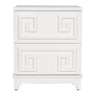 2 Drawer Greek Key Nightstand In White Lacquer. Both Drawers On Glides. Product Image