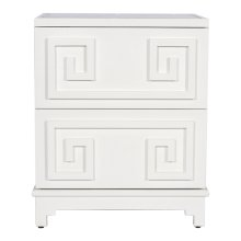 2 Drawer Greek Key Nightstand In White Lacquer. Both Drawers On Glides.