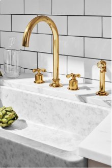 Henry Three Hole Gooseneck Kitchen Faucet, Metal Cross Handles and Spray STYLE: HNKM20