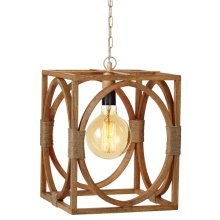 Large Open Rectangle & Circle Pendant with Jute Accent. 60W Max. Hard Wire Only.