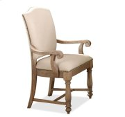 Coventry Upholstered Arm Chair Weathered Driftwood finish Product Image