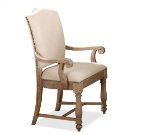 Coventry Upholstered Arm Chair Weathered Driftwood finish