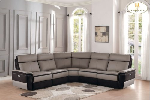 5 Piece Power Leather Sectional