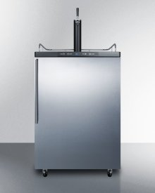 Freestanding Residential Beer Dispenser, Auto Defrost With Digital Thermostat, Stainless Steel Wrapped Door, Thin Handle and Black Cabinet